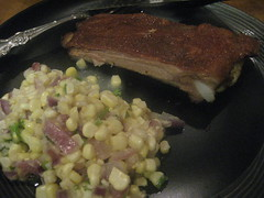 Spareribs and corn salad