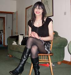 It's that chair again! (Starrynowhere) Tags: black tv kilt boots cd emma mini tights tgirl transvestite opaque pantyhose crossdresser starrynowhere 982010