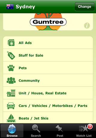 MyGumtree iPhone App homescreen