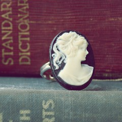 Cameo Ring (thebaretree) Tags: portrait black vintage handmade victorian ivory books jewelry ring cameo etsy adjustable