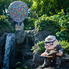 My Spirit of Adventure (Peter E. Lee) Tags: house up statue japan garden balloons waterfall rocks diary disney jp chiba pixar carl 2010 tdr tokyodisneyresort tokyodisneylandresort fredricksen tokyodisneylandpark disneyphotochallenge disneyphoto