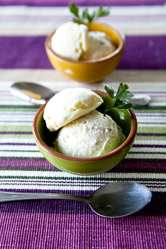 Homemade goat cheese and honey lavender ice cream