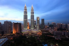 Kuala Lumpur (A Sutanto) Tags: city blue urban architecture modern bar night skyscraper buildings hotel twilight asia view dusk capital petronas towers twin hour malaysia tall kualalumpur southeast kl klcc traders earthnight