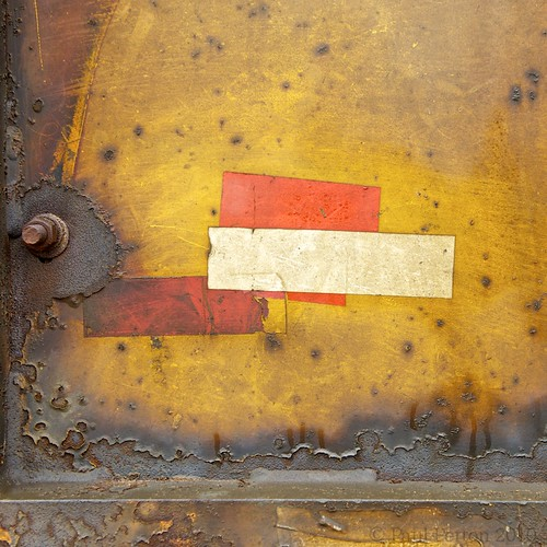 Rust and reflective tape, railway ore wagon, Selebi Phikwe, Botswana