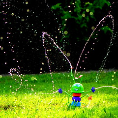 In the Summertime when the Weather is HOT.... (bitzcelt) Tags: summer water fun happy cool nikon play h2o sprinkler heat summertime refreshing childsplay heatwave coolingoff refresh nikkor105mmf28vr beattheheat mungojerry bitzcelt