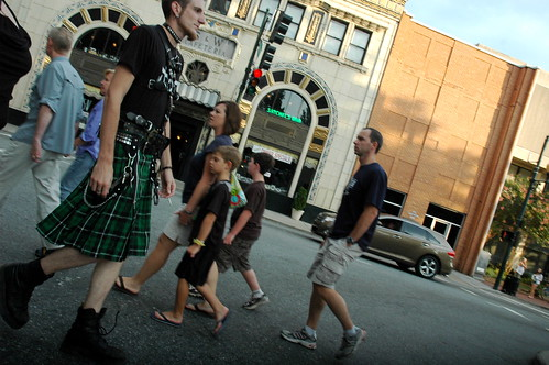 On the streets of Ashvegas: Kilt walker