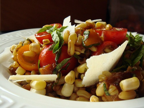 CSA Summer 10: Kamut Salad With Tomato, Corn, Roasted Sweet Pepper