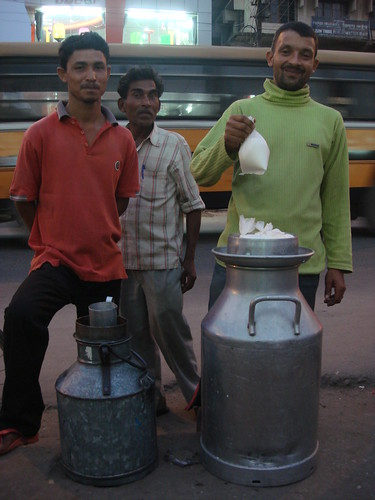 Fresh milk traders in Guwahati, Assam, India