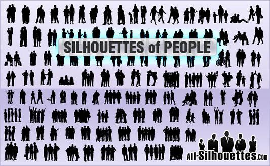 Click en la imagen para descarga 117 Siluetas en formato vector - Grupo de Personas
