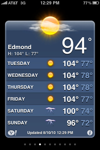 The weather for Edmond the week we were in New Mexico! (Our temps ranged from 50 to high 70s)