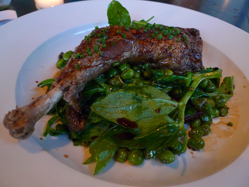 Mercantile's Braised Hen with English Peas, Pea Tendrils and Bacon