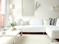 Preparing for autumn... (Iro {Ivy style33}) Tags: white ikea pillows whiteonwhite ourhome mydaytoday vintagewallpaper thepenthouse loungearea ikeaps welivehere albertvanluit goldenhues vasecollection minishelf preparingforautumn sofacorner homewithivy atouchofgolden coffeetalble
