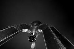 Gothic Rocket (Kanaka Menehune) Tags: sanfrancisco california longexposure blackandwhite night silver model embarcadero scifi sciencefiction spaceship rocketry raygunrocket