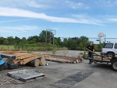 Ron & Dallas unload reclaimed wood for RampHouse