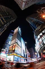 So... where is my hotel? (Beatrycze.) Tags: street city nyc night manhattan wideangle fisheye timesquare ilovenewyork nikond90
