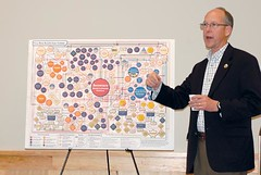 Rep. Greg Walden hosted a town hall meeting on Aug. 12 at the Harney County Community Center. Here he talks about the new health care system with the aid of a chart. (Photo by RANDY PARKS)