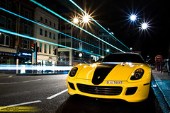 Ferrari 599 Novitec Rosso (Murphy Photography) Tags: blue london cars car yellow night canon lens photography eos italian italia doors open view shot d stripes first ferrari front explore arab 200 gto 28 50 tuning limited 70 spa rosso supercar murphy gtb brandnew 599 novitec