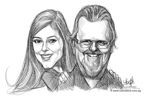 Digital caricatures of David Robert Wooten and daughter