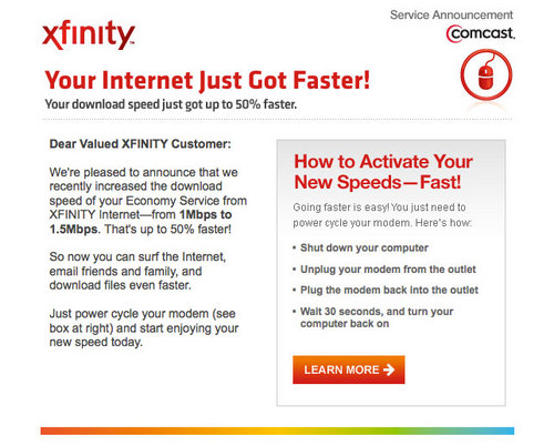 Comcast: We Sped Up Your Internet    Oh, No, Actually, We