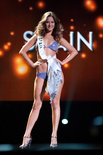 Miss Spain 2010 Adriana Reveron performs in swimsuit by Dar Be Dar Swimwear