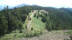 山頂から鴨沢道を見下ろす。