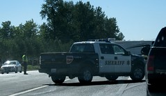 Snohomish County Sheriff (dr--gonzo) Tags: blackandwhite accident sheriff wreck fordtruck stevenspass fordf150 greatnorthern irongoat snohomishcountysheriff reroutetraffic nleafexclusive