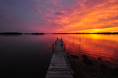 Sunset with Dock (Shutter Speed Sam) Tags: sunset water contrast dock bright brilliant charlestownrhodeisland