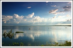 Osman Sagar,Hyderabad ($udhakar) Tags: sky lake reflection nature water clouds landscape pentax hyderabad lakefront sceneic andhrapradesh waterbody gandipet krishlikesit osmansagar justpentax pentaxk100dsuper wwwsudhakarcom smcpda1645mmf40edal