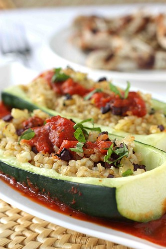 Greek Stuffed Zucchini with Kalamata Olives, Feta Cheese & Tomato Sauce Recipe