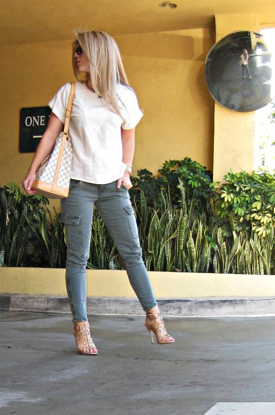 j bran houlihan pants+louis vuitton azur bucket bag+boutique 9 heels+tom ford sunglasses+hair done-og