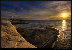 I'm back... (Dave the Haligonian) Tags: ocean sunset sea sun lighthouse canada canon coast bravo rocks novascotia atlantic fisheye tokina shore maritime 7d granite peggyscove imback 1017mm img1788 copyrightallrightsreserved davidsaunders davethehaligonian