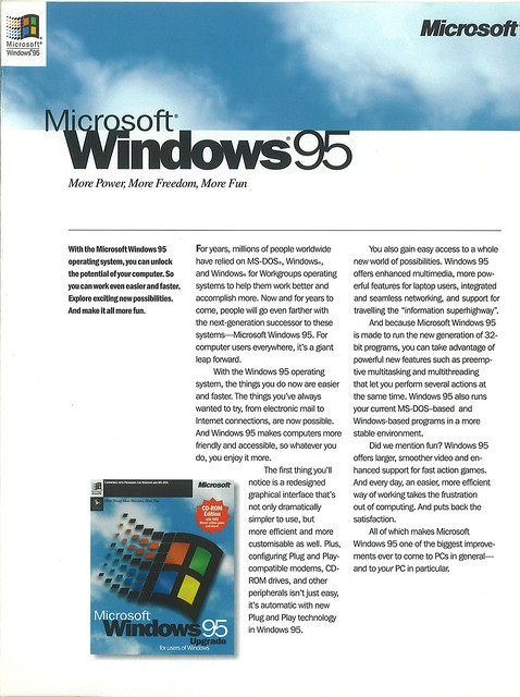 Windows 95 brochure - page 1 (cover)