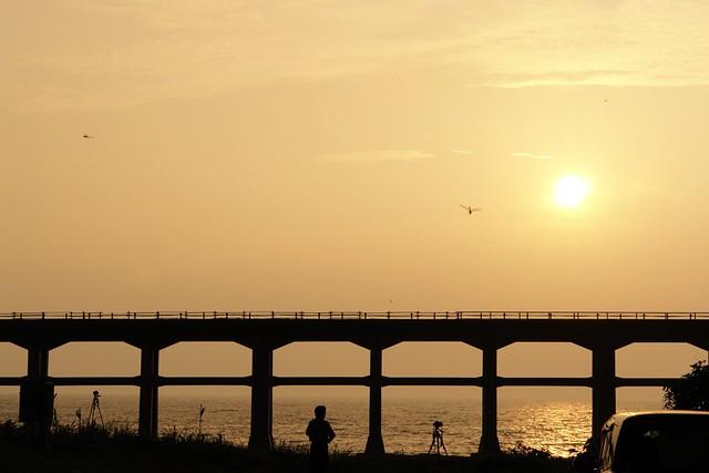 Sunset time: Sougou river bridge : JR Sanin line