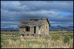 HDR #749 - Old Stone House (Pete's Photo Magic) Tags: old usa house abandoned stone barn vintage psp wooden log pentax idaho hdr topaz photomatix k20d