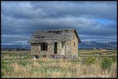 HDR #749 - Old Stone House (Pete's Photo Magic) Tags: old usa house abandoned stone barn vintage psp wooden log pentax idaho hdr topaz photomatix k20d