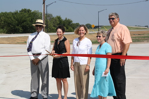 Ribbon Cutting:  Left to right: Robert O'Kelly, Mayor of Parsons, Kansas; Deb Miller, Kansas Secretary of Transportation; Patty Clark, State Director, USDA Rural Development; Carolyn Kennett, Economic Development Director for City Parsons; Fred Gress, Parsons City Manager