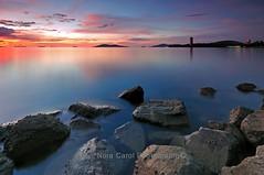 Stillness (Nora Carol) Tags: longexposure rocks nightshot dusk kotakinabalu sabah sigma1020mm likasbay likas p121s nikond90 tanjunglipat noracarol cokingndfilter p121l