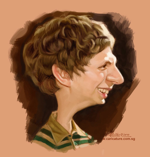 digital caricature of Michael Cera - 2 small
