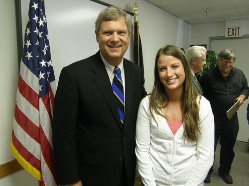 Secretary Vilsack meets USDA Intern and Drake student Jessie Scott during a recent visit to Iowa.
