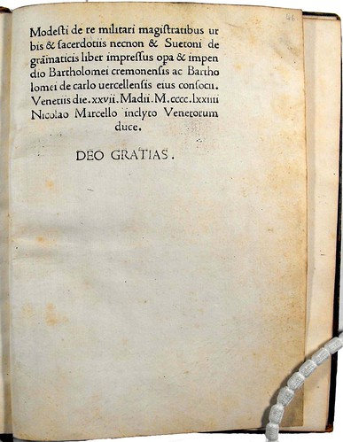 Final page with colophon of 'De re militari.'