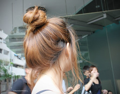 From the Back (Amanda Mabel) Tags: street light portrait woman baby brown love girl japan hair asian japanese necklace back model ballerina waiting funny day skin princess tea expression tan earring bubble koi brunette has bun looked dyed amandamabel