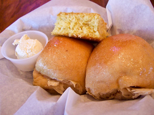 Rolls and cornbread at Black-eyed Pea