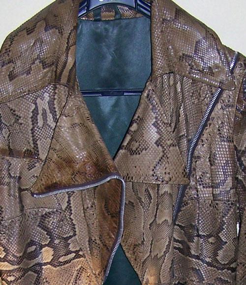 Ossie Clark python coat: lapel/zip