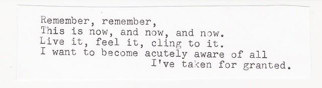 Remember, remember.