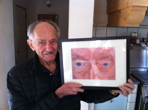 Retired Opthalmologist Wally Friedman M.D. with His iPad Portrait by DNSF David Newman
