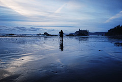 The girl who shot the ocean (ewitsoe) Tags: ocean park sunset sea sky reflection water coast nikon rocks photographer pacific coastal pacificnorthwest shooting 20mm washingtonstate rubybeach sihouette pnw isolated lapush takingphotos recharging 2035mm d80