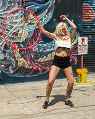 Hula Hoop Dancer, Bushwick, Brooklyn, New York City (jag9889) Tags: 2017 20170615 brooklyn bushwick dance dancer dancing detail exercise garage gate graffiti hulahoop kingscounty mural ny nyc newyork newyorkcity outdoor painting parking performance rabbit rolldown securitygate shop stnicholasavenue store streetart tagging usa unitedstates unitedstatesofamerica wall weird woman door eye jag9889 movement