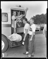 91.47.0468 4 young men by bus_positive (MassMu Collections & Archives) Tags: transporation bus busterminal buses vehicle massillon museum ohio