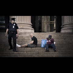 the break up (Dj Poe) Tags: street camera new york city nyc sleeping cinema ny beauty up photo office dj post manhattan district candid steps cinematic poe 2010 garment woke