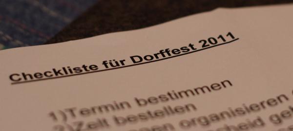 checkliste für dorffest 2011